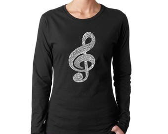 Women's Long Sleeve T-Shirt - Created Using a List of the Most Popular Classical Music Composers of All Time Note