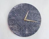 Map Wall Clock, Wanderlust, Nautical Clock, Gift For Him. Atlantic Ocean Art, Home and Living, Home Decor, Clocks
