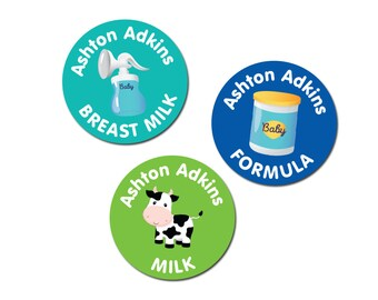 Milk Type Labels with Name - Waterproof
