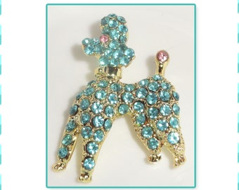 Gold Tone Blue Pink Rhinestone Figural POODLE Dog Pooch Brooch