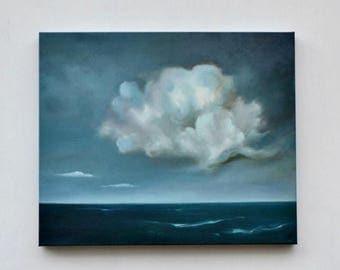 ON SALE Original cloud painting, seascape painting, oil on canvas , home decor, storm clouds- Along came a cloud