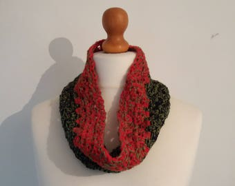 Crochet Chunky Cowl Red, Green & Navy Blue - Charity Listing
