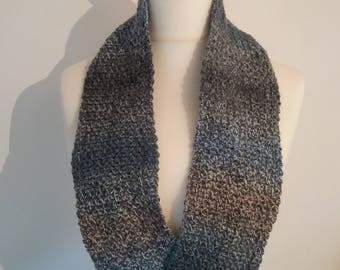 Crochet Grey and Blue Infinity Scarf Cowl