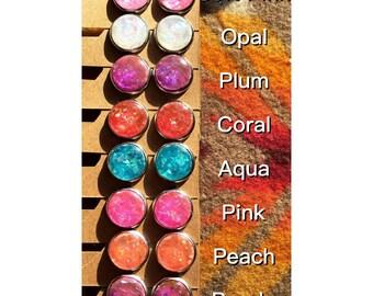 12mm Faux Opal Stud Earrings - Opal Stud Earrings - Stainless Steel Faux Opal Earrings - Druzy Opal Earrings - Luxie Creations