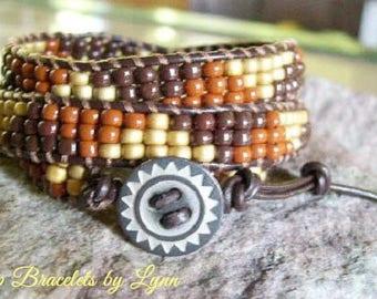 Beaded wrap bracelet,Leather Wrap Bracelet, Triple Wrap, Boho bracelet - 952