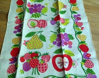 nos 1975 vintage linen fruit towel by malandrino