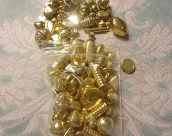 Lot of Vintage, New Old Stock, Gold Tone Metalized Beads, 2.5 Oz, Nice Quality, Lot 2
