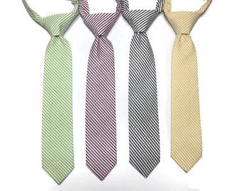 Seersucker Boys Necktie~Cotton Necktie~Wedding Tie~Boys Pretied Necktie~Stripe Necktie~Lime~Americana~Black~Lemon~Seersucker~Blue~Yellow~Red