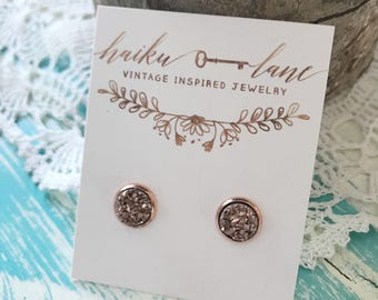 Rose gold druzy studs with rose gold plated setting