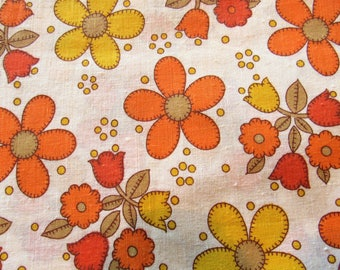 yellow and orange floral applique print cotton fabric -- 35 wide by 2 yards