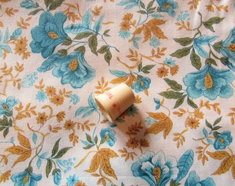 blue and gold floral print vintage cotton fabric -- 36 wide by 1 1/2 yards plus