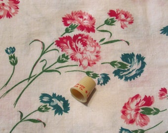 pink and blue carnations print vintage FULL feedsack fabric