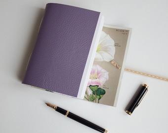 Wild Flower Notebook, lilac Leather Journal, Mindfulness Journal, Hand Bound Wrap Journal, Blank Book, Gratitude Journal, A6 Notebook
