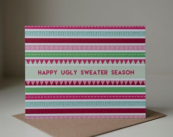Holiday Card, Holiday Greeting Card, Christmas Greeting Card, Blank Card, Blank Christmas Card, Ugly Sweater, Ugly Sweater Card