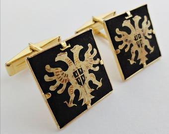 Double Headed Eagle Cufflinks Toledo Spanish Work Circa 1960 Gold Plated
