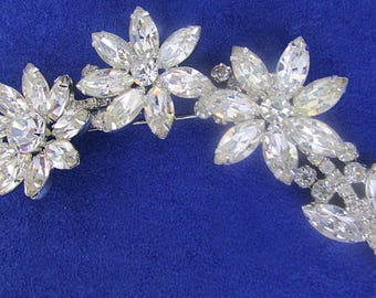 Juliana Massive Rhinestone Flower Shoulder Brooch 4 1/2 Inches 1960's Glamour DeLizza and Elster