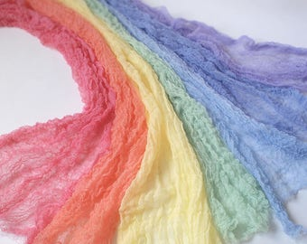 "7 Cheesecloth Rainbow 30"" long -  Newborn photography Props"