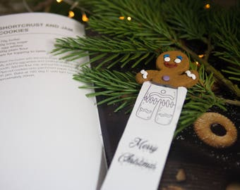 Gingerbread Man head bookmark. Gingerbread Man cool gift for baker. Unusual gift for her, for child, bookworm, student, teen girl, women.