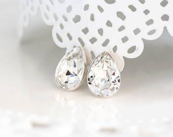 801_ Stud drop earrings, SWAROVSKI crystal earrings, White bride earrings Teardrop bridal jewellery Silver Rhinestone crystal bride earrings