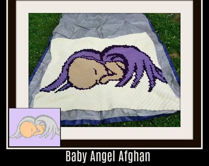 Featured listing image: Baby Angel Afghan, C2C Graph, Written Word Chart