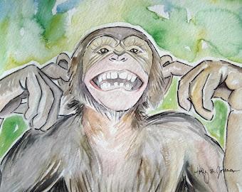 Monkey Watercolor Art Print // Smiling Chimp Painting