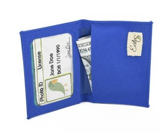 Slim Bifold Wallet in blue, Vegan Wallet, Minimalist Wallet