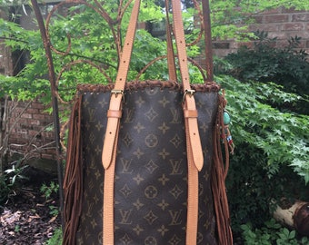 Authentic Guaranteed Louis Vuitton Bucket bag large fringed upcycled leather fringe one of a kind!