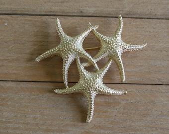 Big Starfish Trio / Signed Monet / Brooch Pin Clip / Nautical Beach Sea Gold Boho Mermaid Rustic