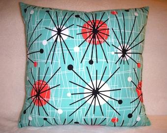 1950 Pillow Cover Repro Eames Mid Century Starburst Turquoise Black Orange White Orbs Spokes Circles Zipper