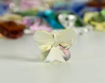 Yellow Butterfly Crystal Glass Bead 14mm