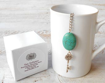 Tea Infuser, Key to my Heart, Lead Free Charm, Turquoise Magnesite Stone, Gift for Sweetheart, Tea Gift, Valentine, Love, Anniversary Gift