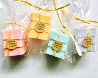 Dozen Soap Favors: 3 pack soap stack with labels