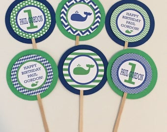 CUTE WHALE Birthday or Baby Shower Party Cupcake Toppers Picks set of 12 {One Dozen} Green Blue- Party Packs Available