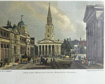 """Vintage antique print of litografie hand colored painted"""" The new opening to St.Martin's Church ."""