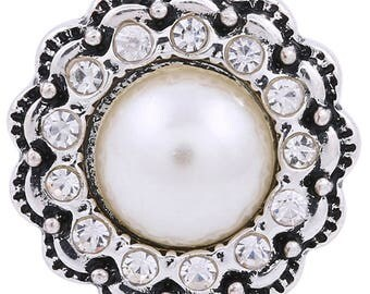 1 PC - 18MM White Faux Pearl Rhinestones Silver Charm for Snap Jewelry KC8635 CC3675