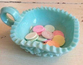 vintage blue milk glass dish