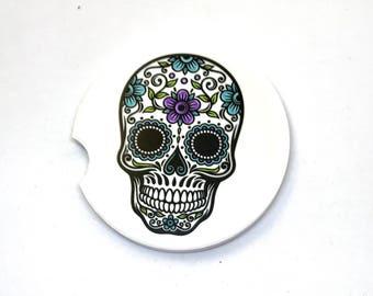 Sugar Skull Car Coasters Cup Holder Coasters Custom Coasters