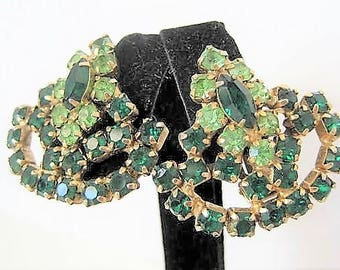 Green Rhinestone Earrings - Prong Set Rhinestones - Two Color Green - Mid Centruy  Clip Ons
