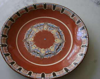 Vintage Bulgarian Folk Hand Painted Red Clay Troyan Pottery Folk Art Decorative Plate