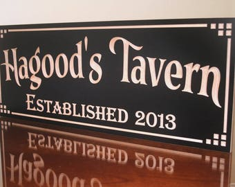 Custom Bar Sign, Pub Sign, Carved Wood Sign, Irish Pub Sign, Custom Bar Signs, Beer Sign, Rustic Man Cave Sign, Benchmark Signs Maple DT