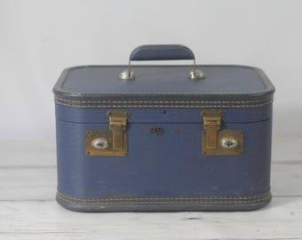 Vintage Suitcase Lady Baltimore Luggage Navy Blue Makeup Case Overnite Suitcase