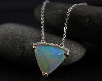 FLASH SALE Bail-Free White Opal and Diamond Necklace – October Birthstone- 14kt White Gold