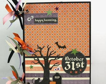 Halloween Scrapbook Kit or Premade Mini Album Pre Cut with Instructions Pumpkin Witch October 31
