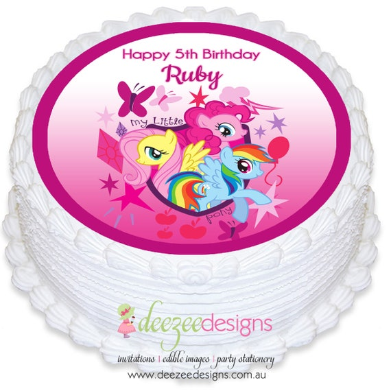 My Little Pony Round Edible Icing Cake Topper Pre Cut By Deezee