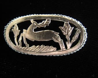 """Rose Gold & Sterling Silver Deer and Thistle Brooch. Scottish. 1940's Vintage.  Wide Oval.  Cut Out Woodland Design. 1 7/16"""" W x 11/16"""" H."""