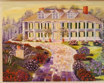 Country Mansion, Home Portrait Oil, Dan Leasure Oil Painting, 36l,25t,