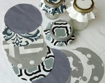 Dozen Multi-Gray Set Jar Toppers, Fabric Circles for Canning, Gift in a Jar, YoYo, FREE Shipping