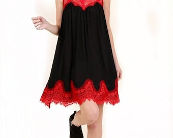 ITZEL Black Baby Doll Dress with Red Lace Trim