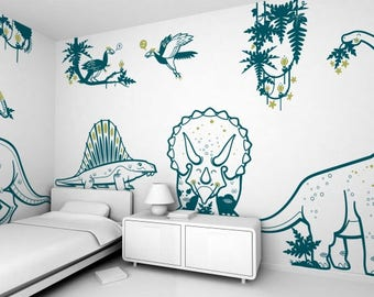 Dinosaur Wall Decal Theme Pack - Wall Decals Vinyl Decor Art Sticker Removable Mural Modern
