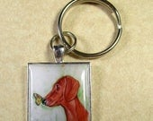 Dachshund Keychain, Red Smooth Dachshund Key Chain, Wiener Dog Key Ring, Dachshund Mens Gifts, Wiener Dog Gifts, Dachshund Gifts